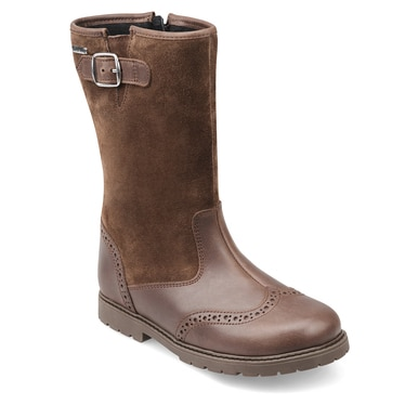 Toasty, Brown Leather Girls Zip-up Water Resistant Boots