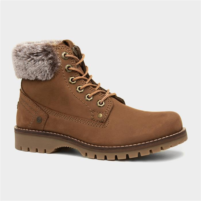 Wrangler Alaska Womens Brown Leather Lace Up Boot