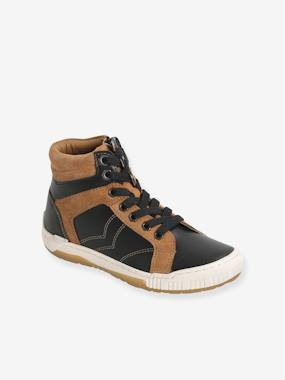 Leather Ankle Boots with Laces & Zips for Boys black