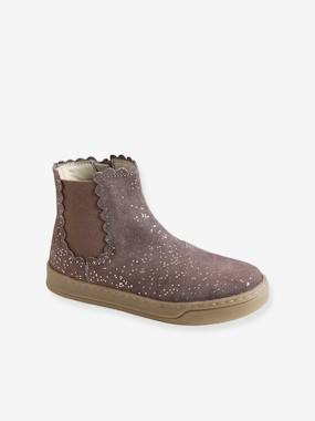 Boots with Elastic & Zip, for Girls brown/print