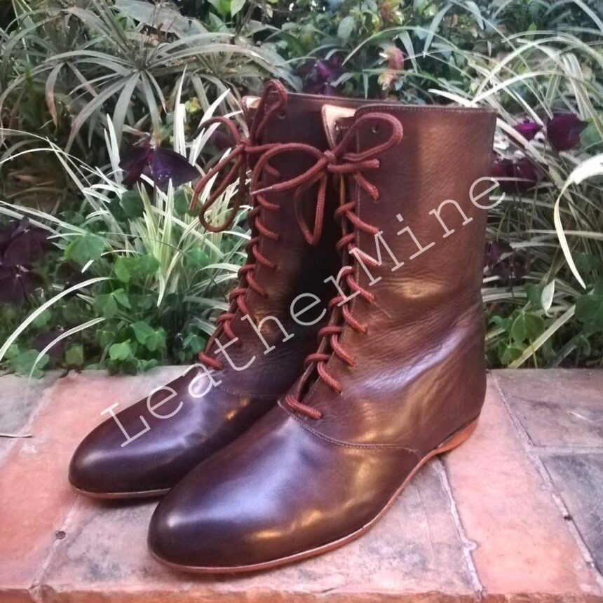 Handmade Leather Regency Style Boots for Women Brown Leather boots for women
