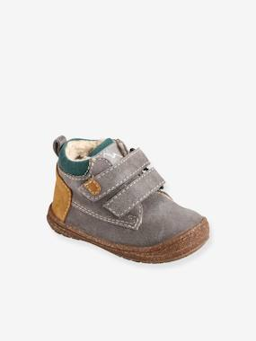 Leather Ankle Boots with Faux Fur for Baby Boys brown