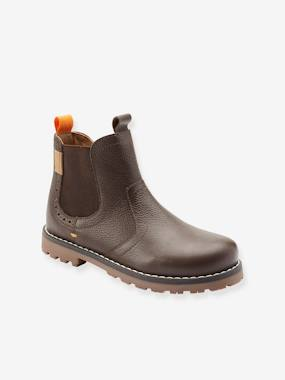 Leather Boots with Faux Fur for Boys, Designed for Autonomy brown