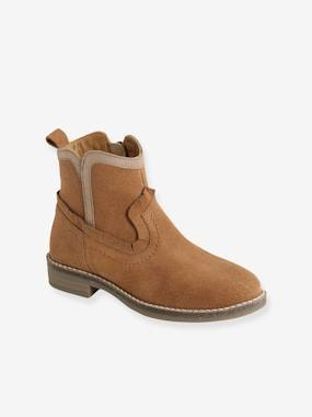 Leather Boots with Zip for Girls brown