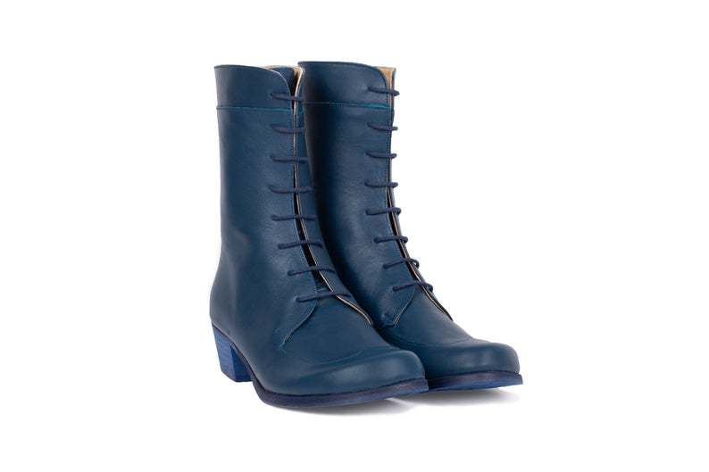 Made To Order Women Blue Derby Plain Toe Low Heel Wide Mid Calf Combat Boots