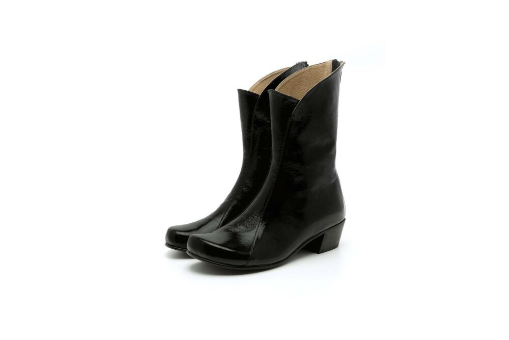 New Black Low Heel Mid Calf Premium Quality Leather High Ankle Women Classy Boot