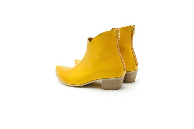 New Yellow Low Chunky Heel Pointy Toe High Ankle Back Zipper Women's Boot