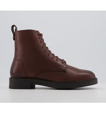 Office Advertise Chunky Smooth Sole Lace Up Boots BROWN LEATHER