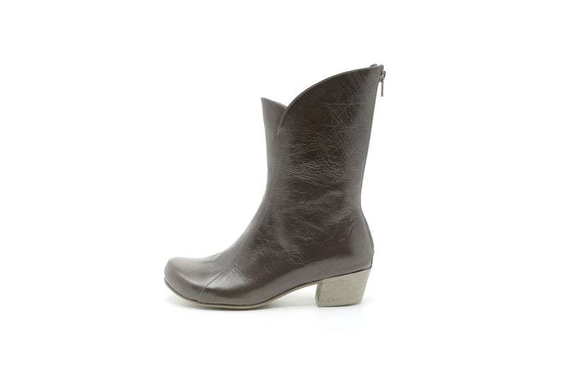 Women Gray Block Heel Back Zipper Pointy Toe Comfortable Leather Ankle High Boot