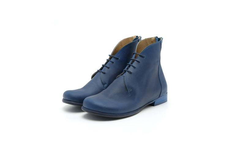 Women's New Blue Lace Up Low Heel Genuine Leather High Ankle Chukka Boots